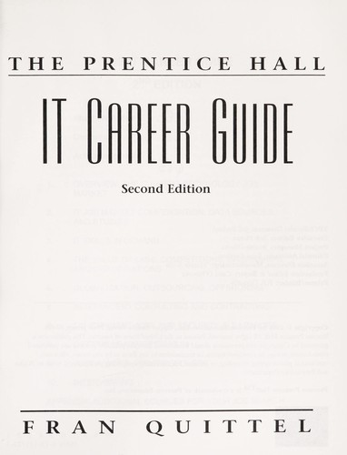 The Prentice Hall IT career guide by Frances Quittel