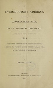 Cover of: An introductory address delivered at Apothecaries