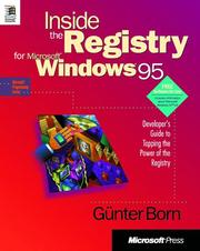 Cover of: Inside the registry for Microsoft Windows 95