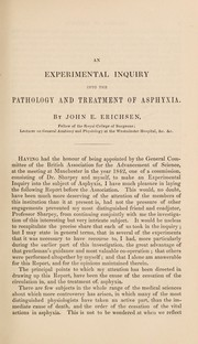 Cover of: An experimental inquiry into the pathology and treatment of asphyxia ... To which the Royal Humane Society awarded the Fothergillian Gold Medal