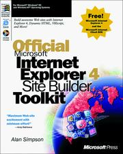 Cover of: Official Microsoft Internet Explorer 4 site builder toolkit | Simpson, Alan