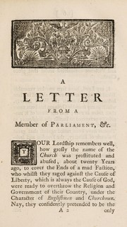 Cover of: A Letter from a member of Parliament for a borough in the west |