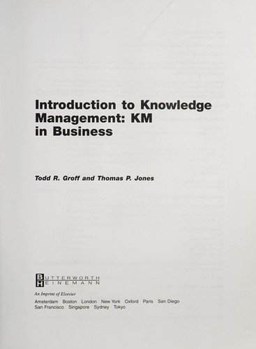 Introduction to knowledge management by Todd R. Groff