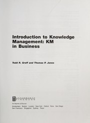 Cover of: Introduction to knowledge management | Todd R. Groff