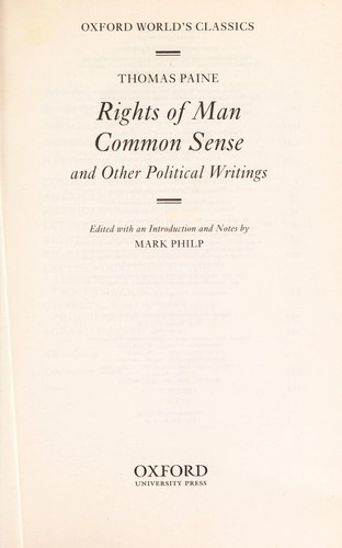 Rights of man [electronic resource] : Common sense ; and other political writings by
