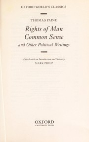 Cover of: Rights of man [electronic resource] : Common sense ; and other political writings |