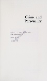 Cover of: Crime and personality