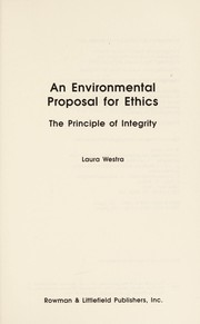 Cover of: An environmental proposal for ethics