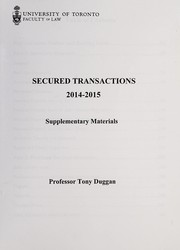 Cover of: Secured transactions | A. J. Duggan