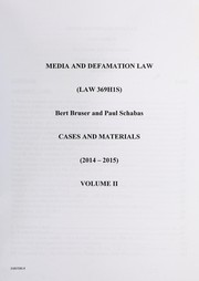 Cover of: Media and defamation law | Bert Bruser