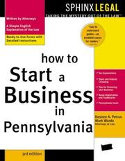 Cover of: How to start a business in Pennsylvania