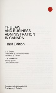 Cover of: The law and business administration in Canada | James Everil Smyth