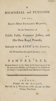 Cover of: A memorial and petition to the King