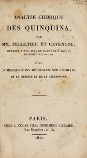 Cover of: Analyse chimique des quinquina