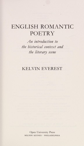 English romantic poetry by Kelvin Everest