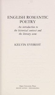 Cover of: English romantic poetry | Kelvin Everest