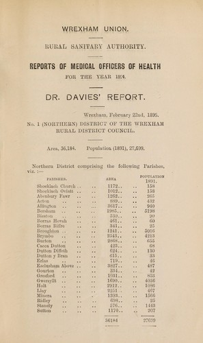 [Report 1894] by Wrexham (Wales). Rural District Council