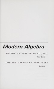 Cover of: An introduction to modern algebra