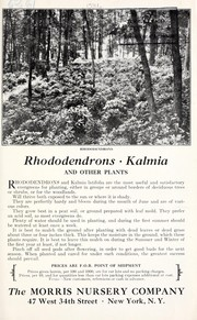 Cover of: Rhododendrons, kalmia and other plants | Morris Nursery Co