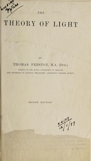 Cover of: The theory of light