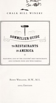 Cover of: Sommelier Guide to Restaurants in America