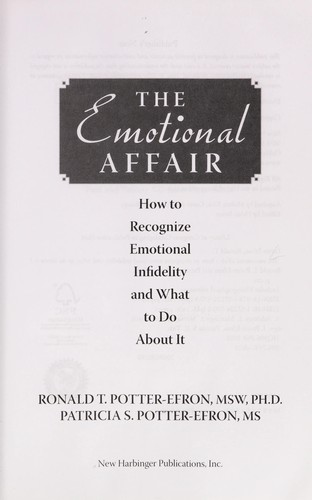 The emotional affair by Ronald T. Potter-Efron