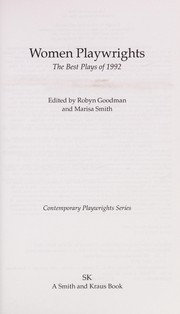 Cover of: Women Playwrights, The Best Plays of 1992