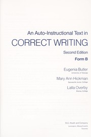 Cover of: Auto-Instructional Text in Correct Writing. 2d Ed. Form B
