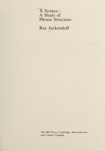 X Syntax by Ray S. Jackendoff