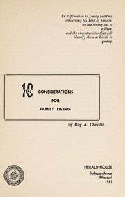 Cover of: Ten considerations for family living