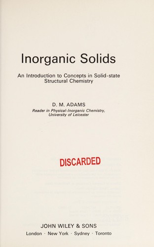Inorganic solids by D. M. Adams