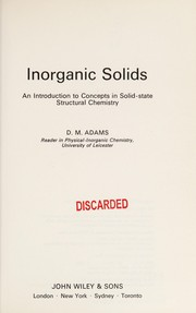 Cover of: Inorganic solids | D. M. Adams