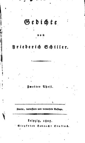 Gedichte 1805 Edition Open Library
