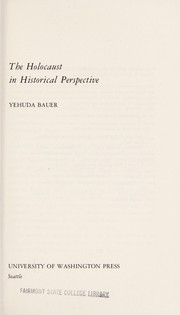 Cover of: The Holocaust in historical perspective