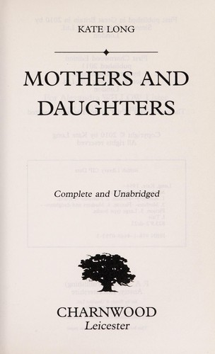 Mothers and daughters by Kate Long