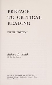 Cover of: Preface to critical reading