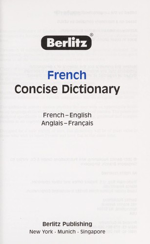 French concise dictionary by Berlitz Publishing Company