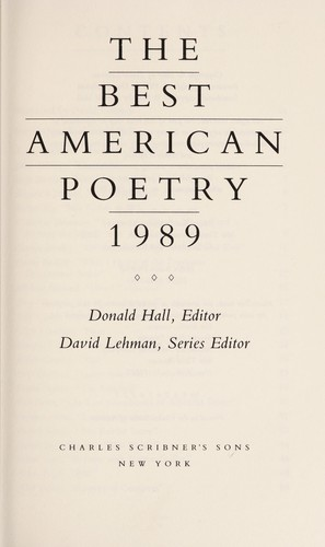 The Best American poetry, 1989 by