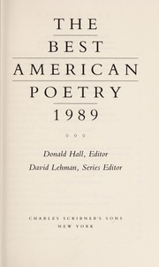 Cover of: The Best American poetry, 1989 |