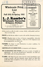 Cover of: Wholesale price list for fall 1931 & spring 1932 | L.J. Rambo