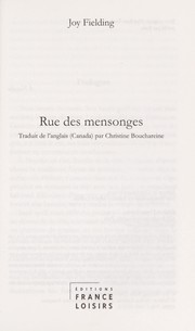 Cover of: Rue des mensonges