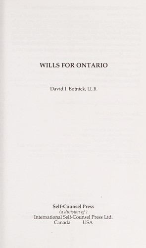 Wills for Ontario by David I. Botnick