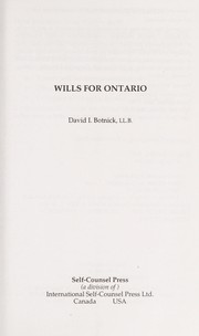 Cover of: Wills for Ontario | David I. Botnick
