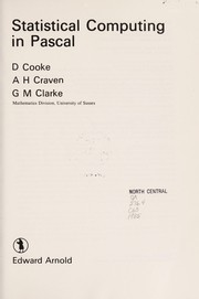 Cover of: Statistical computing in Pascal | D. Cooke