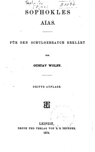 Aias by Wolff, Gustav , Sophocles