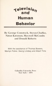 Cover of: Television and human behavior
