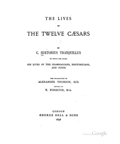 the lives of the twelve caesars by Suetonius