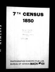 Cover of: 7th census, 1850, New York | United States. Bureau of the Census