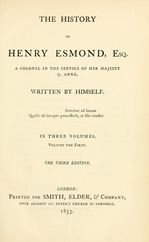 History of Henry Esmond by William Makepeace Thackeray