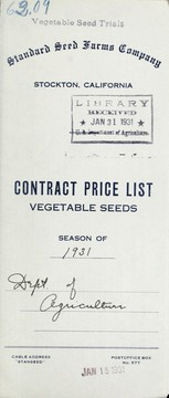 Cover of: Contract price list | Standard Seed Farms Company